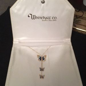 🦋 14K Yellow Gold Triple Butterfly Necklace 🦋